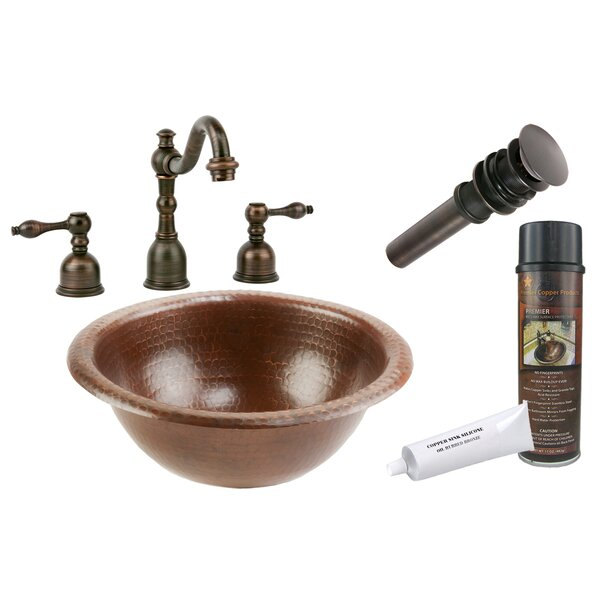 Braided Metal Circular Drop-In Bathroom Sink with Faucet by Premier Copper Products