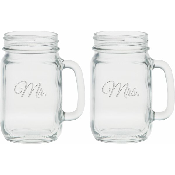 Lilienthal Deep Etched 16 Oz. Handle Jar Glasses (Set of 2) by Winston Porter