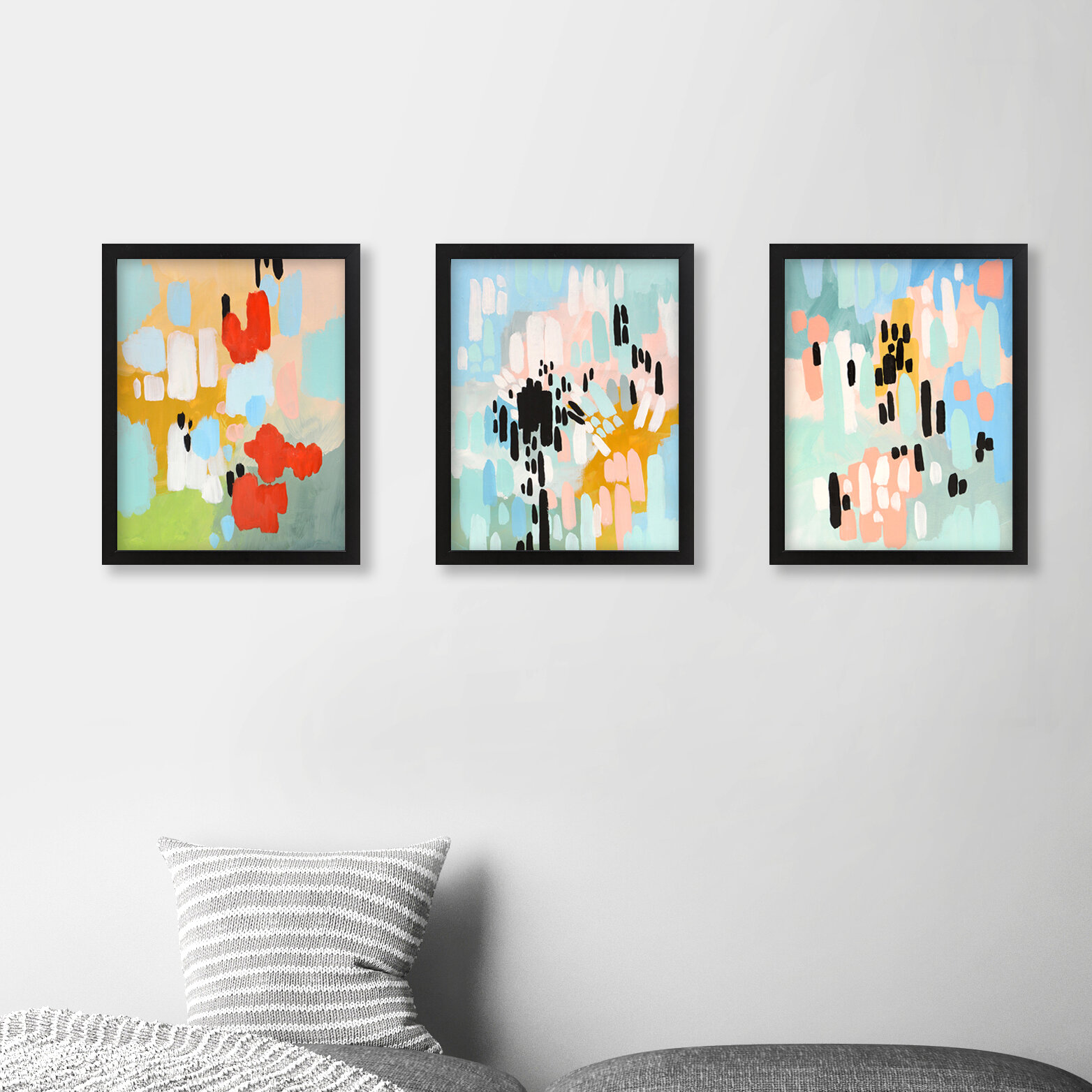 Abstract 3 Piece Picture Frame Graphic Art Print Set On Canvas