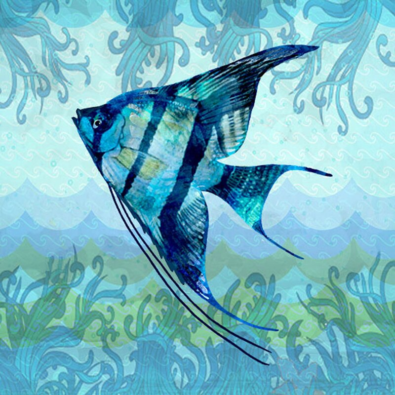 'Angel Fish in Waves' Pretty Fishing Wall Decorations