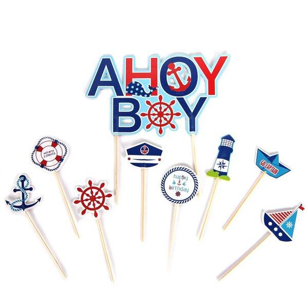 9 Piece Ahoy Boy Cake Topper Set by Paper Jazz