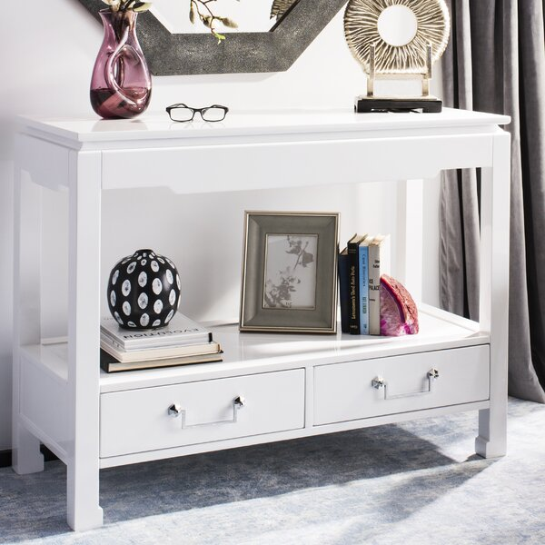 Oren 2 Drawer Lacquer Console Table By Rosdorf Park