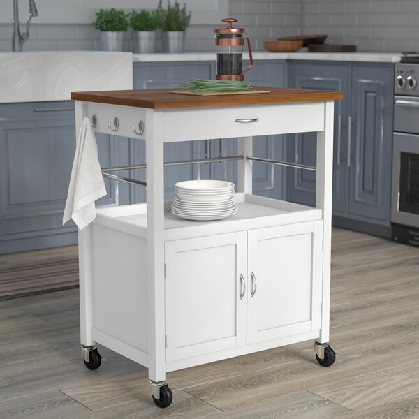 Kibler Kitchen Island Cart With Natural Butcher Block Bamboo Top By Andover Mills.