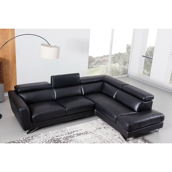 Brayson Right Hand Facing Leather Sectional By Orren Ellis