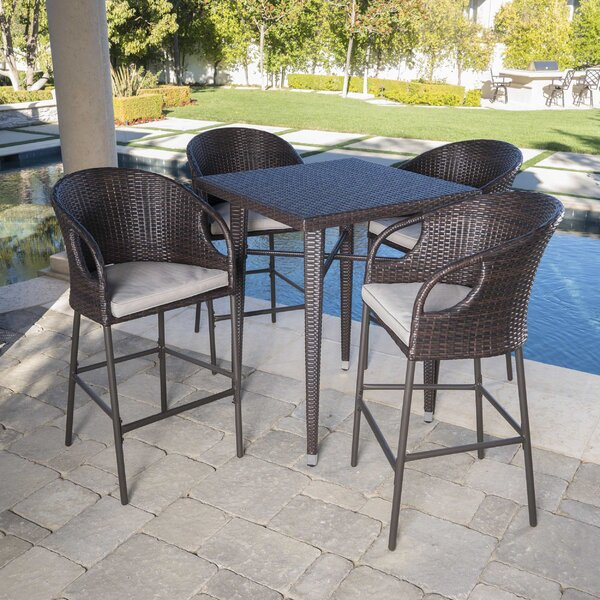 Ching Outdoor 5 Piece Bar Height Dining Set with Cushions by Wrought Studio