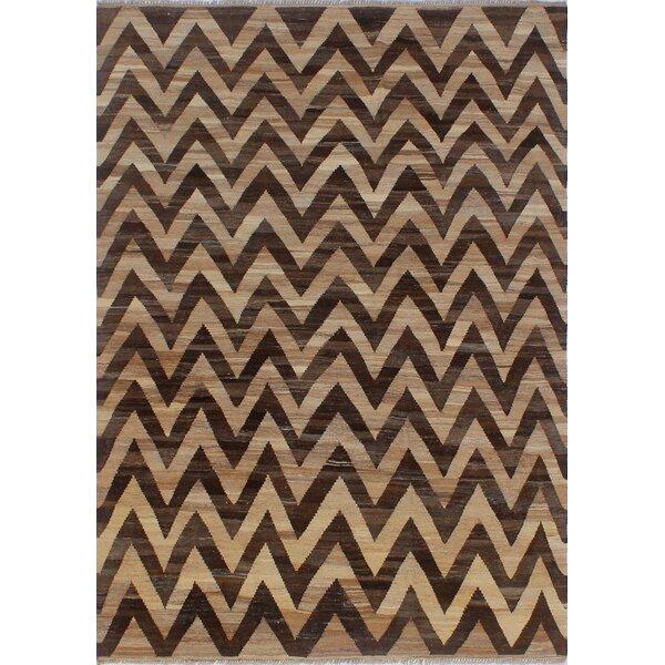 Dickie Hand-Knotted Wool Beige/Dark Brown Area Rug by Bloomsbury Market