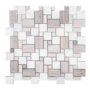 Coastal Forest 11.88 x 11.88 Garden Mosaic Tile in White/Beige by Kellani