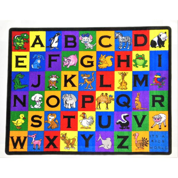 Charlie and Friends Kids Blue/Red/Yellow Area Rug by Kids World Carpets