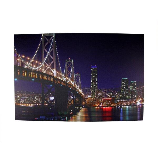 Battery Operated 8 LED NYC George Washington Bridge Photographic Print on Canvas by Northlight Seasonal