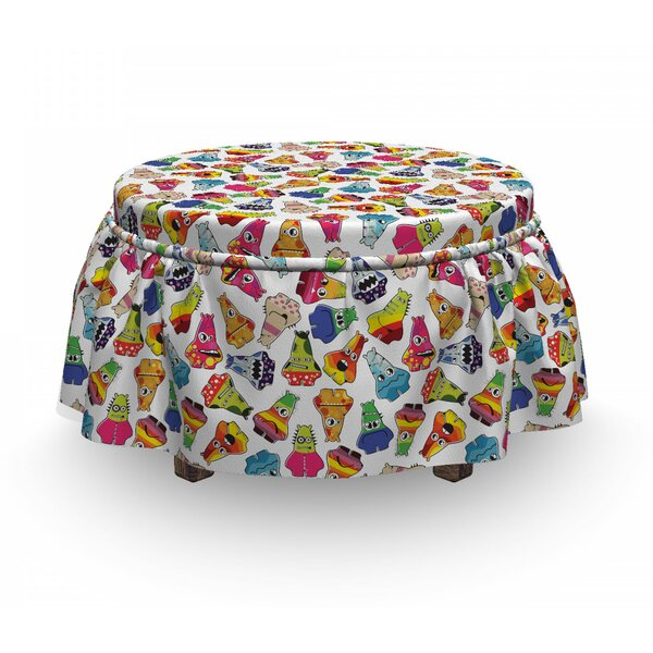 Playful Friendly Monsters Ottoman Slipcover (Set Of 2) By East Urban Home