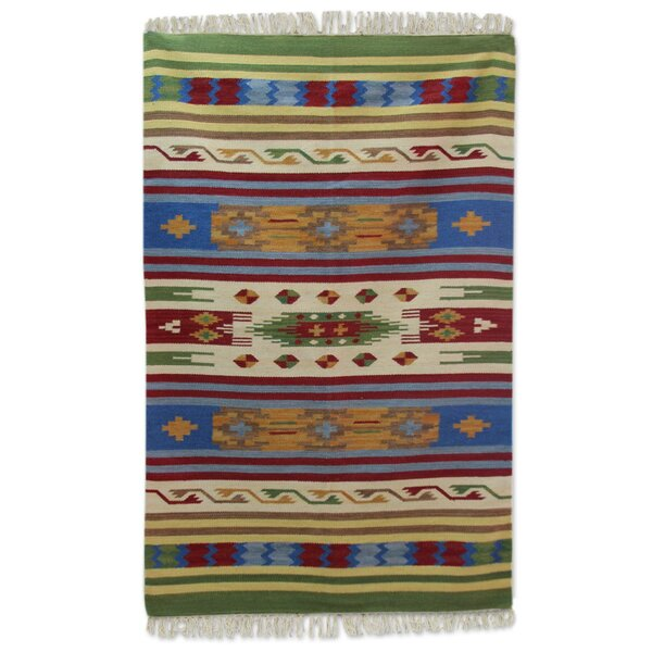 Raynerson Tribal Skies Dhurrie Hand-Woven Wool Blue/Beige Area Rug by Bloomsbury Market