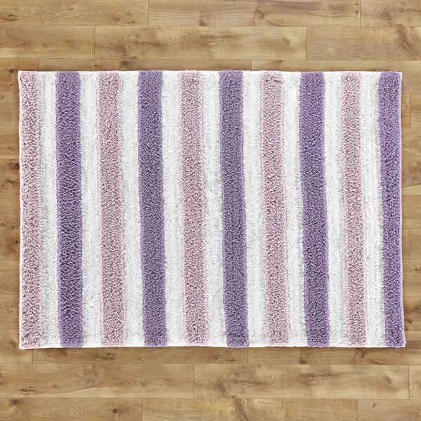 Stripe Hand-Woven Plum/Lilac Area Rug by Birch Lane™