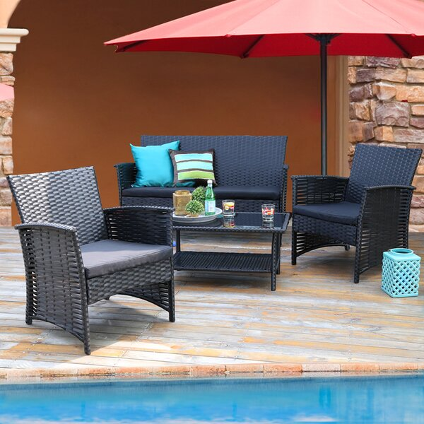 Cieran 4 Piece Rattan Sofa Seating Group with Cushions by Red Barrel Studio