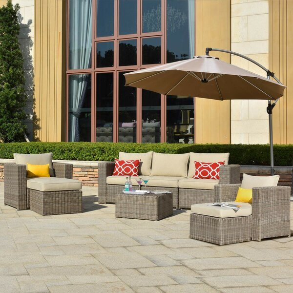Caverna Patio 8 Piece Rattan Sectional Seating Group with Cushions by Latitude Run