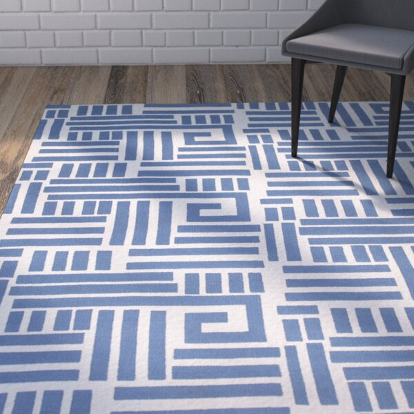 Moravian Hand-Tufted Blue/Ivory Area Rug by Wrought Studio