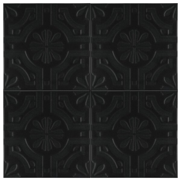 Tres Real 7.75 x 7.75 Ceramic Field Tile in Black by EliteTile