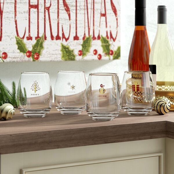 Millen 4 Piece Tidings Holiday 16 Oz. Stemless Wine Glass Set by Mint Pantry