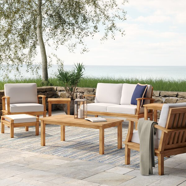 Elaina 7 Piece Teak Sofa Set with Cushions by Beachcrest Home
