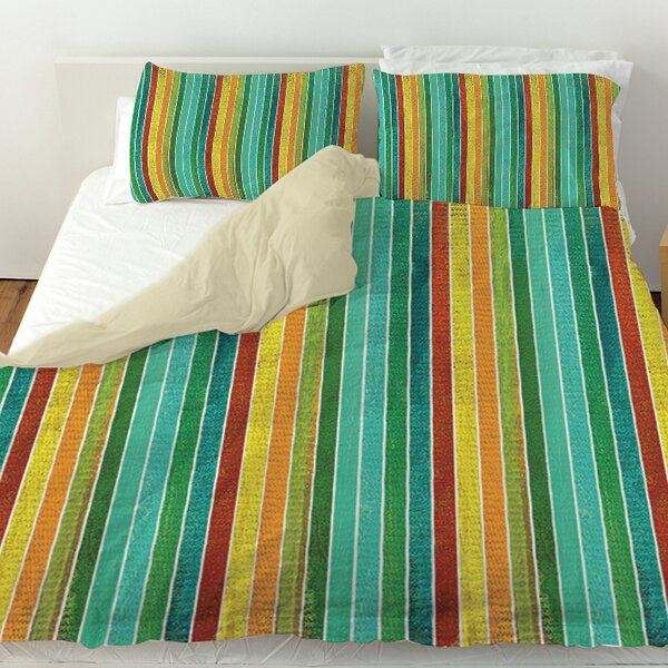 Aqua Bloom Stripes Duvet Cover by Manual Woodworkers & Weavers