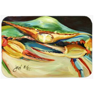 Blue Crab Rectangle Tempered Glass Cutting Board By East Urban Home