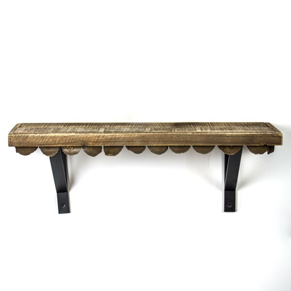 Mateer Scalloped Wood Rustic Floating Shelf by Uni