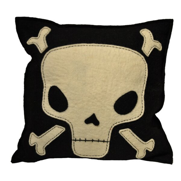 Manriquez Skull and Crossbone Wool Throw Pillow by Ivy Bronx