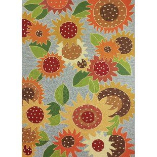 Compare prices Dorothy Sunflower Impression Orange/Yellow Indoor/Outdoor Area Rug By Charlton Home