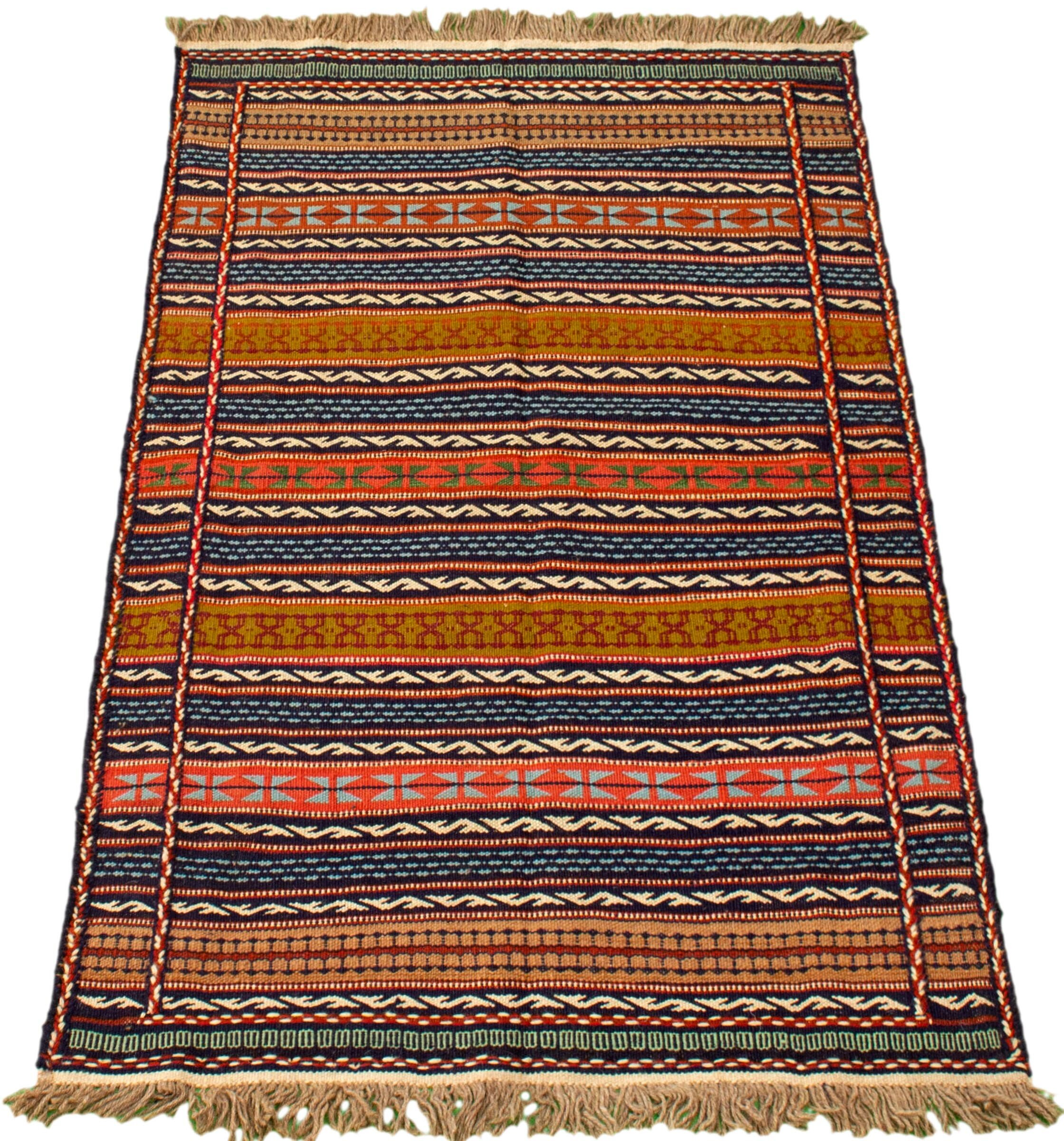Foundry Select Wychwood Handmade Kilim Wool Dark Navy Brown Rug Wayfair