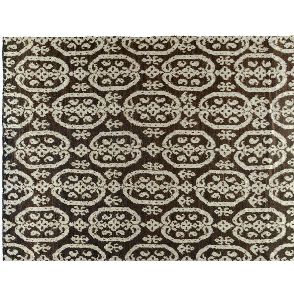 One-of-a-Kind Moroccan Hand-Knotted Brown 9' x 12' Wool Area Rug