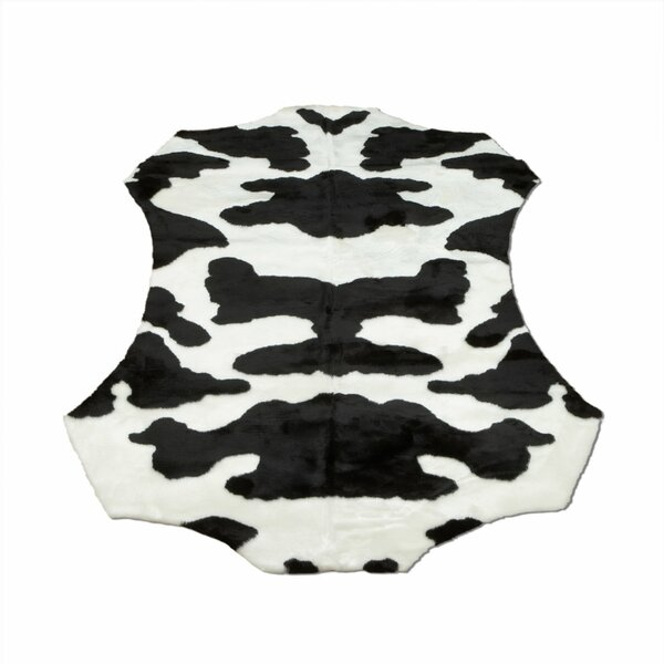 Animal Black/White Cow Area Rug by Walk On Me