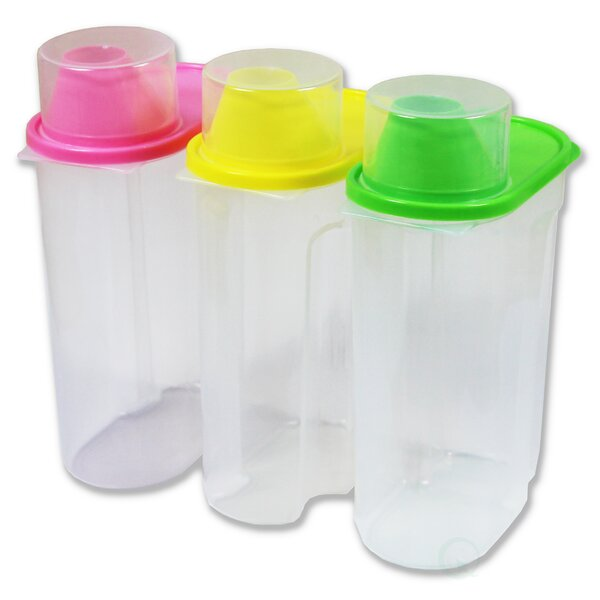 Basicwise Large Plastic Kitchen Saver 3 Container Food Storage Set
