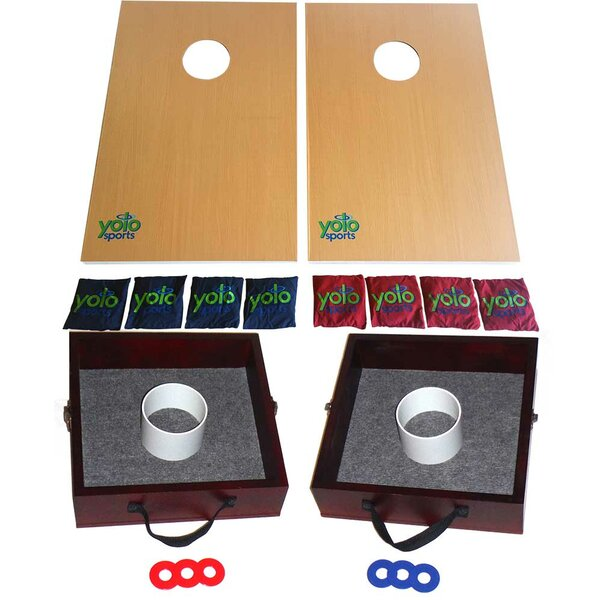 Lawn Game Duo Cornhole and Washer and Ring Toss Set by Yolo Sports