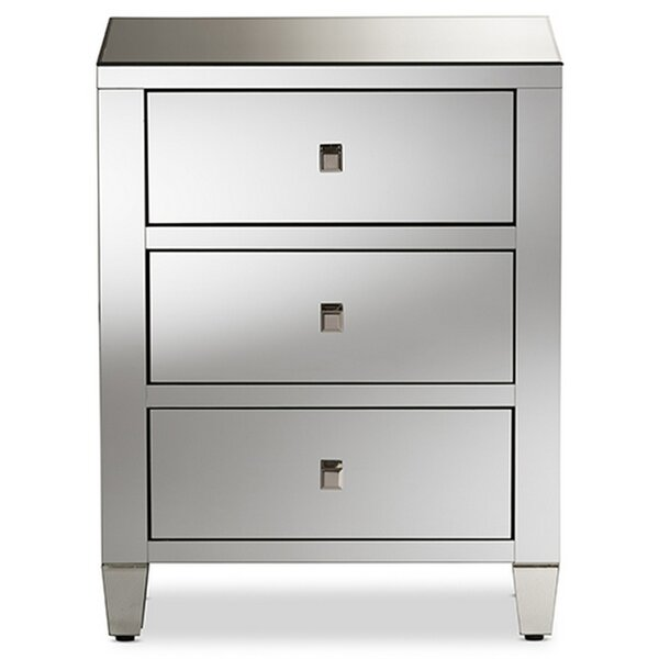 Glenmore Glamour 3 Drawer Nightstand by Everly Quinn