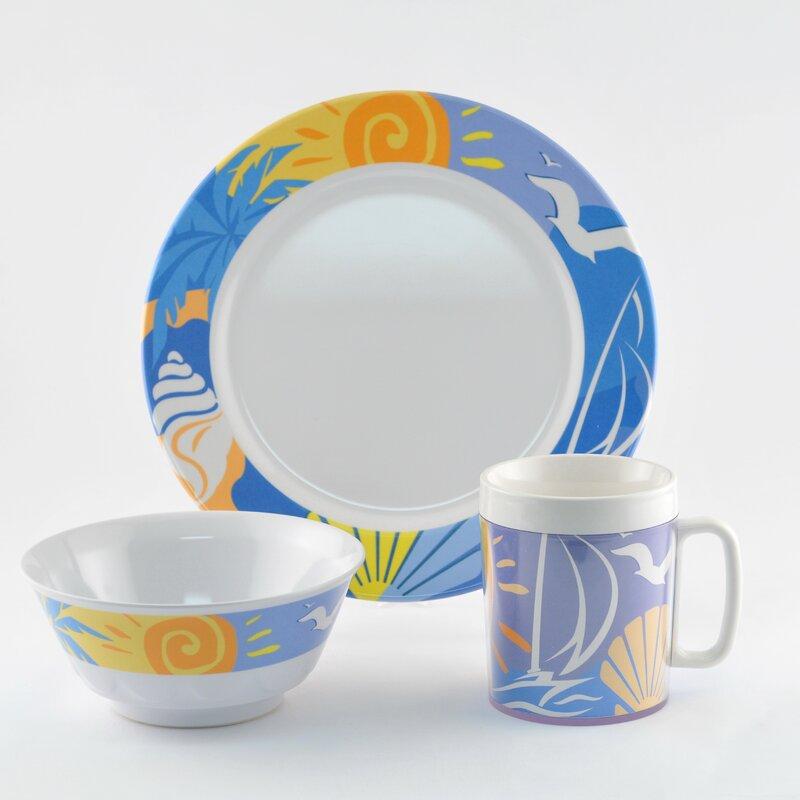 Decorated Ocean Breeze Melamine 12 Piece Dinnerware Set Service for 4  sc 1 st  Wayfair & Galleyware Company Decorated Ocean Breeze Melamine 12 Piece ...