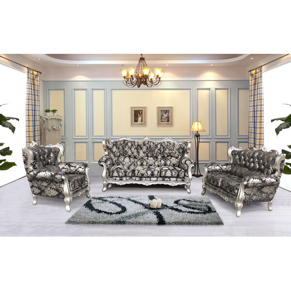 Vidalia 3 Piece Black And Silver Embossed Fabric Standard Living Room Set by Astoria Grand