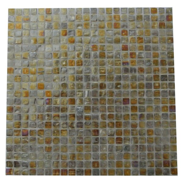Ecologic 0.38 x 0.38 Glass Mosaic Tile in Glazed Brushed Gold by Abolos