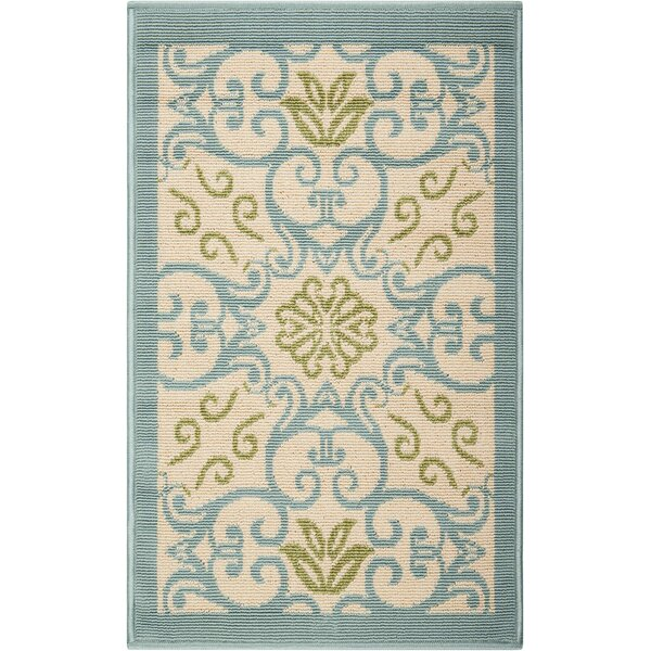 Carleton Ivory/Blue Indoor/Outdoor Area Rug by Alcott Hill