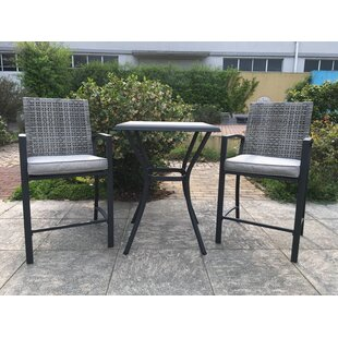 Krull Wicker 3 Piece Bar Height Dining Set With Cushions
