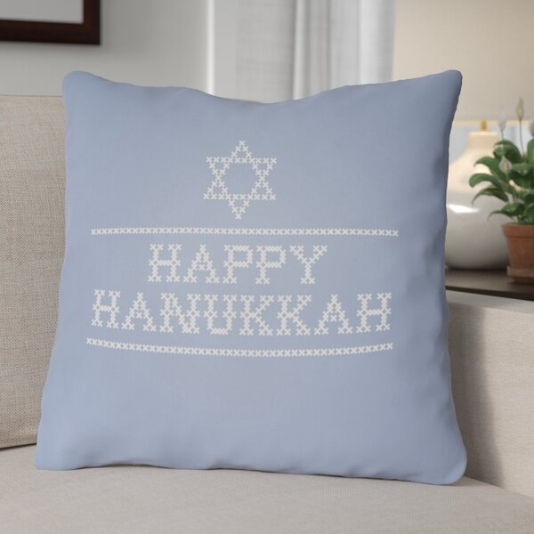 Happy Hannukah Indoor/Outdoor Throw Pillow by The Holiday Aisle