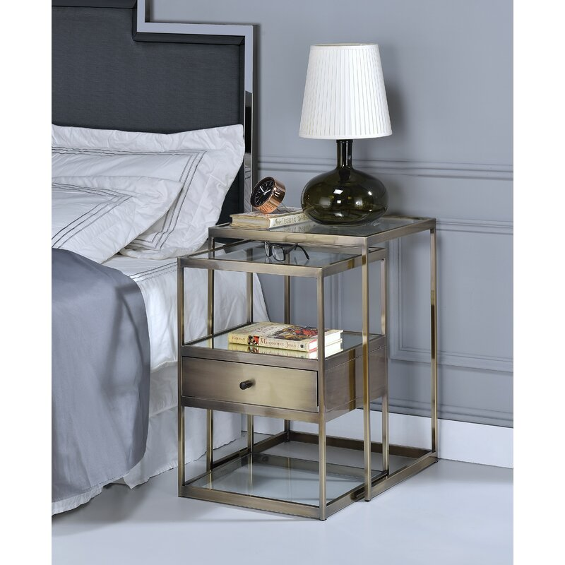 Brayden Studio Branscome Piece Nesting Tables Reviews Wayfair - Nesting table with drawer