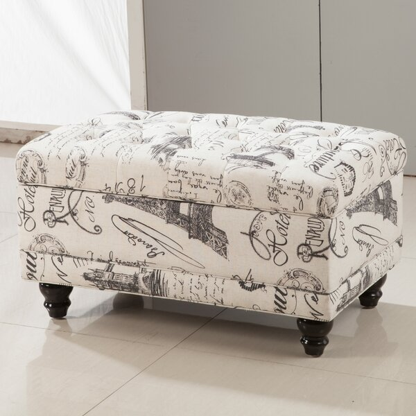 Paris Vintage French Writing Button Tufted Wood Storage Bench