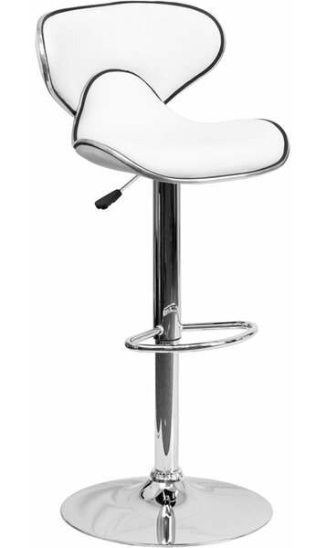 Whelan Mid Back Curved Adjustable Height Swivel Bar Stool by Orren Ellis