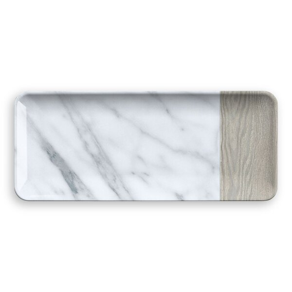 Asante Mixed Carrara and French Oak Melamine Platter by Mint Pantry