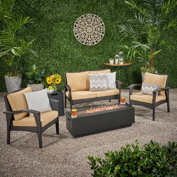 Trotter Outdoor 5 Piece Sofa Seating Group with Cushions by Bayou Breeze