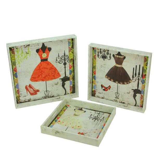 3 Piece Decorative Vintage Fashion and Dresses Square Serving Tray Set by Northlight Seasonal