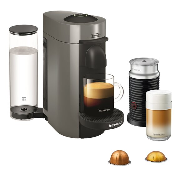 DeLonghi Nespresso Vertuo Plus Coffee and Espresso Single-Serve Machine with Aeroccino Milk Frother by Nespresso