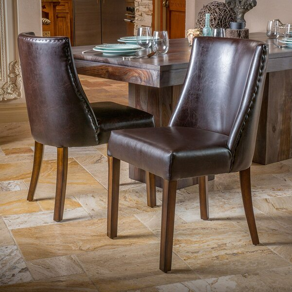 Cottonwood Genuine Leather Upholstered Dining Chair by August Grove