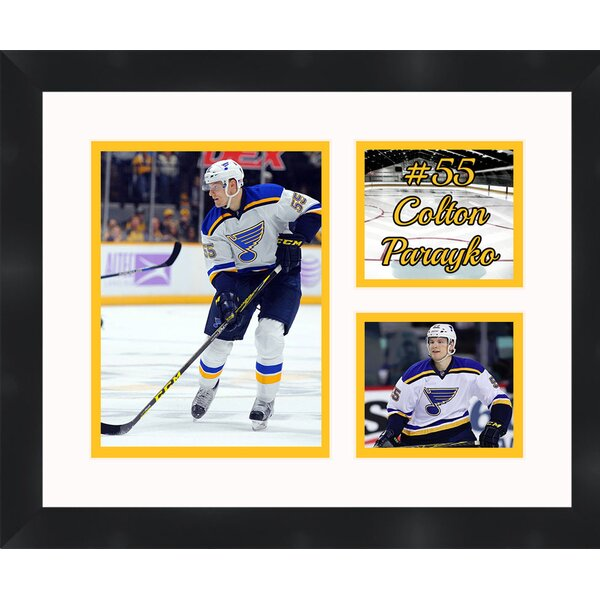 St Louis Blues Colton Parayko 55 Collage Framed Photographic Print by Frames By Mail