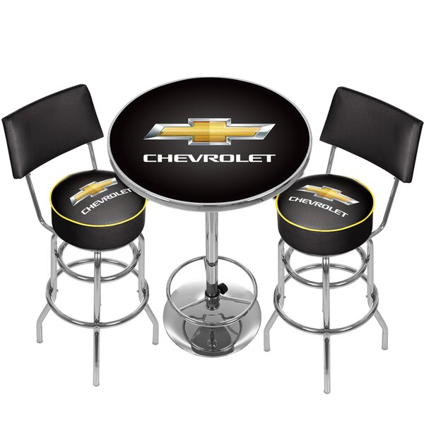 Great price Chevrolet Game Room Combo 3 Piece Pub Table Set By Trademark Global Read Reviews