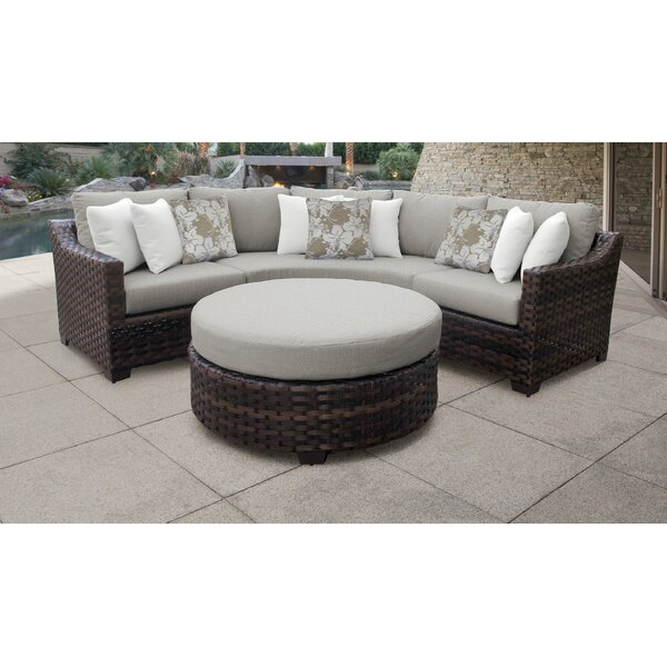 River Brook 4 Piece Outdoor Wicker Patio Furniture Set 04b By Kathy Ireland Homes & Gardens By TK Classics